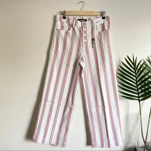 NWT Express high striped cropped wide leg jeans